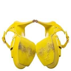 Saint Laurent Yellow  Patent Leather Tribute Platform Sandals Size 37