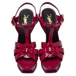 Saint Laurent Pink Patent Leather Tribute Platform Sandals Size 37.5