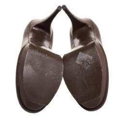 Saint Laurent Brown Leather Tribtoo Pumps Size 40