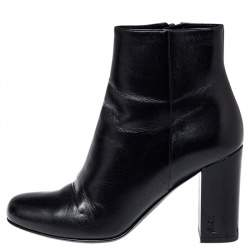 Saint Laurent Black Leather Loulou Zipped Ankle Boots Size 35
