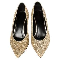 Saint Laurent Gold Glitter Charlotte Pumps Size 37.5
