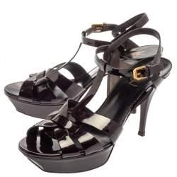 Saint Laurent Burgundy Patent Leather Tribute Platform Ankle Strap Sandals Size 40