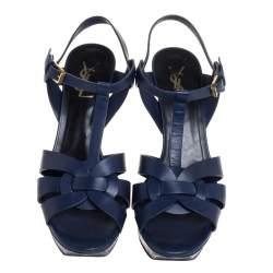 Saint Laurent Blue Leather Tribute Platform Ankle Strap Sandals Size 39.5
