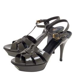 Saint Laurent Grey Patent Leather Tribute Platform Ankle Strap Sandals Size 40