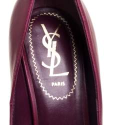 Saint Laurent Burgundy Leather Tribtoo Platform Pumps Size 37