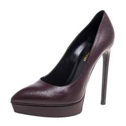 Saint Laurent Brown Leather Janis Pointed Toe Platform Pumps Size 38