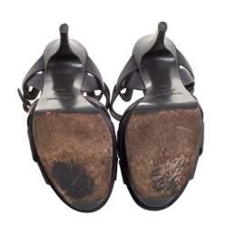 Saint Laurent Grey Leather Tribute Platform Ankle Strap Sandals Size 36.5