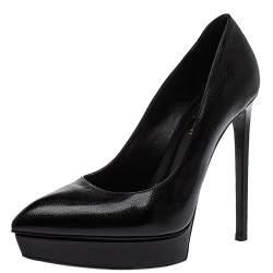 Saint Laurent Black Leather Janis Pointed Toe Platform Pumps Size 38