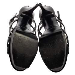 Saint Laurent Paris Black Leather New Riveg Platform Sandals Size 39