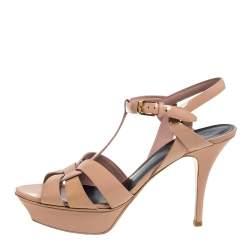 Saint Laurent Beige Patent Leather Tribute Platform Ankle Strap Sandals Size 40