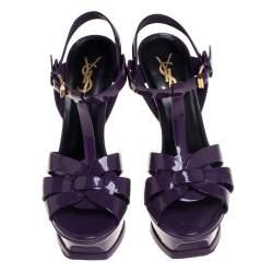 Saint Laurent Purple  Patent Leather Tribute Sandals Size 37.5