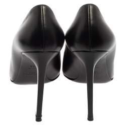 Saint Laurent Black Leather Pointed Toe Pumps Size 40.5