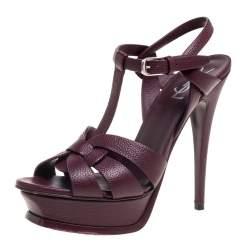 Saint Laurent Burgundy Leather Tribute  Sandals Size 38.5
