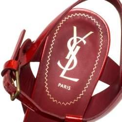 Saint Laurent Red Patent Leather Tribute Platform Ankle Strap Sandals Size 39