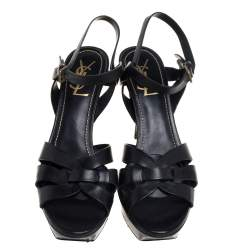 Saint Laurent Black Leather Tribute Sandals Size 39