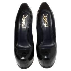 حذاء كعب عالي سان لوران تريبتو جلد أزرق داكن نعل سميك مقاس 37