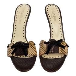 Saint Laurent Multicolor Snakeskin Bow Slide Sandals Size 36