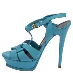 Saint Laurent Blue Leather Tribute Platform Ankle Strap Sandals Size 37