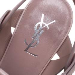 Saint Laurent Blush Pink Leather Tribute Platform Ankle Strap Sandals Size 39.5