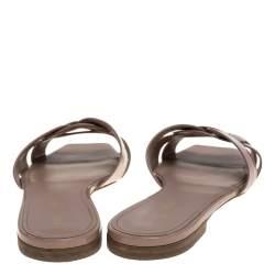 Saint Laurent Beige Patent Leather Tribute Flat Slides Size 40