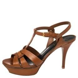 Saint Laurent Tan Leather Tribute Sandals Size 39