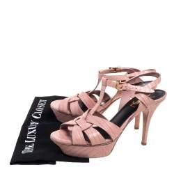 Saint Laurent Pink Croc Embossed Leather Tribute  Sandals Size 37