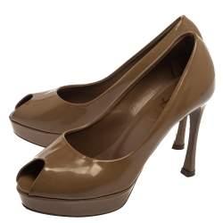 Saint Laurent Brown Patent Leather Peep Toe Platform Pumps Size 36.5