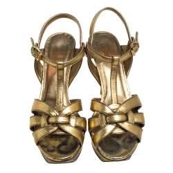 Saint Laurent Gold Leather Tribute Sandals Size 38