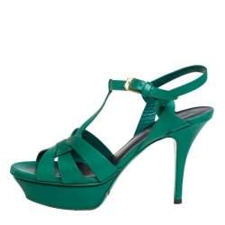 Saint Laurent Green Leather Tribute Sandals Size 36