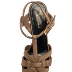 Saint Laurent Beige Suede Tribute Platform Sandals Size 37