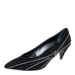 Saint Laurent Black Velvet Crystal Embellished Pointed-Toe Pumps Size 39