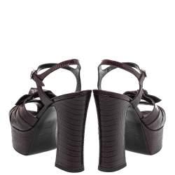 Saint Laurent Burgundy Lizard Embossed Leather Candy Platform Ankle Strap Sandals Size 36