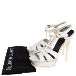 Saint Laurent White Leather Tribute Sandals Size 38.5