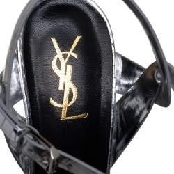Saint Laurent Silver Croc Embossed Leather Tribute Sandals Size 41