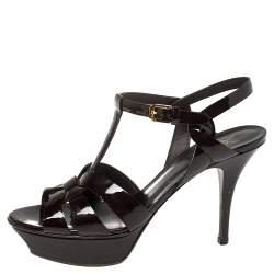Saint Laurent Burgundy Patent Leather Tribute Sandals  Size 39