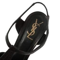 Saint Laurent Paris Black Leather T Strap Platform Sandals Size 40