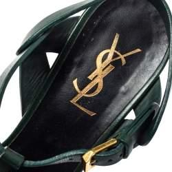 Saint Laurent Paris Green Leather Tribute Sandals Size 38.5