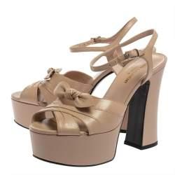 Saint Laurent Beige Leather Candy Bow Platform Sandals Size 37