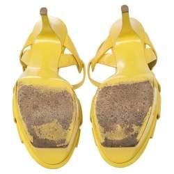 Saint Laurent Paris Yellow Leather Tribute Sandals Size 38