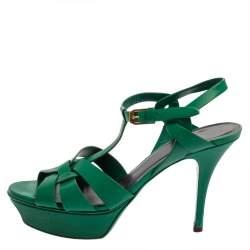 Saint Laurent Green Leather Tribute Platform Sandals Size 38