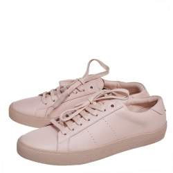 Saint Laurent Pink Leather Signature Court Low Top Sneakers Size 38
