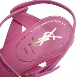 Saint Laurent Paris Pink Patent  Leather Tribute Sandals Size 38.5