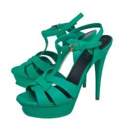 Saint Laurent Green Leather Tribute Sandals Size 39.5