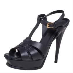 Saint Lauren Black Leather Tribute Sandals Size 39