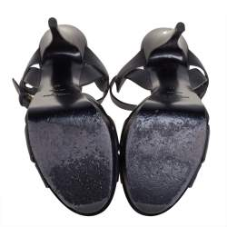 Saint Lauren Black Leather Tribute Sandals Size 39