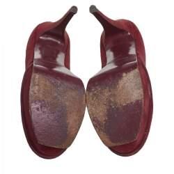 حذاء كعب عالي سان لوران تريبتو سويدي عنابي مقاس 37