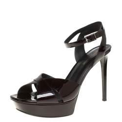 Saint Laurent Plum Patent Leather Bianca Platform Sandals Size 40.5