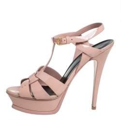 Saint Laurent Pink Patent Leather Tribute Platform Sandals Size 38.5