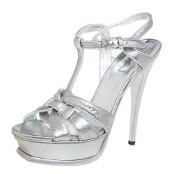 Saint Laurent Silver Lizard Embossed Leather Tribute Platfrom Sandals Size 38