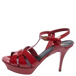Saint Laurent Red Patent Leather Tribute Platform Ankle Strap Sandals Size 40.5